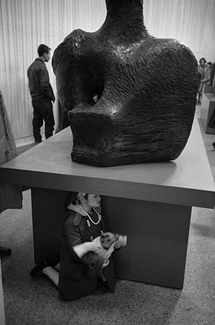 GB. England. An exhibition of Henry Moore sculptures at the Whitechapel Gallery in the East End. 1961.