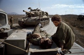 Golan Front, Israeli War. Wounded Israeli Soldier. 1973