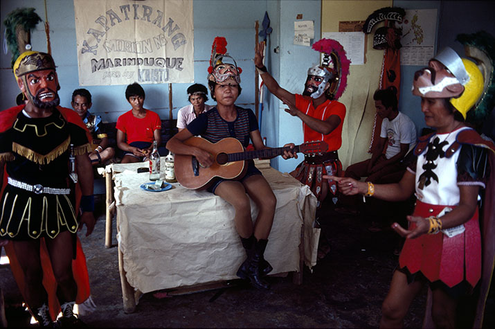 PHILIPPINES. Religion in the Philippines, The Moriones Festival in Marinduque where people wear European masks and some depicting Longuinus the Roman Centurion who peirced Jesus' side with his spear. 1981.