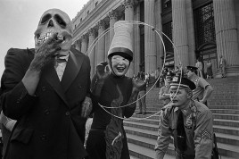 """USA. NEW YORK. The British """"Ban the Bomb"""" movement of early sixties emerged revitalized in America after the Three Mile Island nuclear power station accident in 1979, and America's planned development of new medium-range missiles in New York to protest, some appropriately costumed for the day. 1980"""