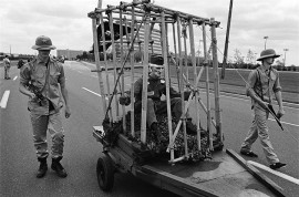 """USA. Long Island, New York. A Memorial Day Parade attended by Viet Nam Veterans who put on a show for the locals, including the inevitable """"Tiger Cage"""" with a captive POW, this time guarded by two youths dressed as North Vietnamese soldiers."""
