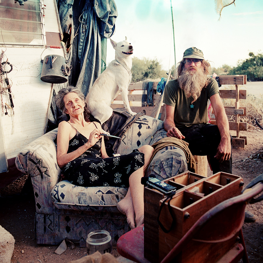 Dave and Liz, partners, live in Slab City, despite objection from their relatives who believe they should be in treatment facilities for mental illness.