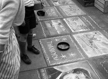 GB. England. When the engagement of Anthony Armstrong-Jones to Princess Margaret was announced in 1960, few had heard of him. Pavement artists came to the rescue with this portrait outside the National Gallery. 1960.