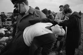 Anti-bomb demonstrators invading US airbase. Norfolk. England. 1964.
