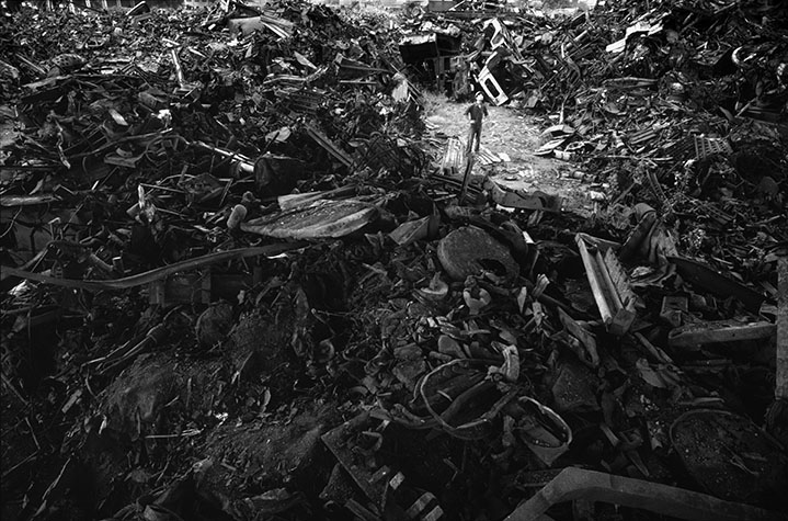 VIET NAM. Bien Hoa. Much of the scrap war material collected by countless scavengers all over the country ends up at the Vicasa Metal Works at Bien Hoa, where it is made into metal rods that are returned to the district where the scrap came from to be used for new building construction.
