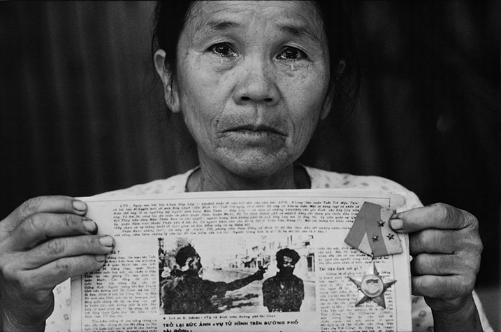VIET NAM. Mrs. Nguyen Thi Lop, 56, the widow of Nguyen Van Lem (nom de guerre, Bay Lop) murdered by General Nguyen Ngoc Load during the Tet Offensive in Ho Chi Minh City. He was captured whilst attacking the Naval Headquarters in the city. Loan died in the US in 1998.