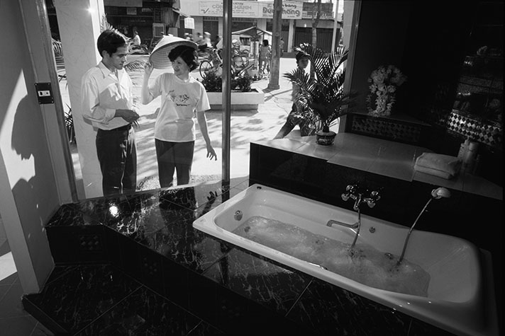 VIET NAM. Viet nam's first jacuzzi, imported from America before the trade embargo  was lifted.