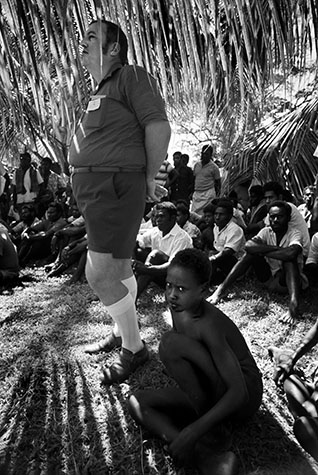 PAPAU NEW GUINEA. Missionaries like to keep out of the sun - it helps them stand out from their darker flock. 1973