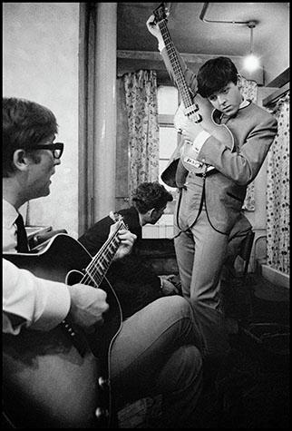 ENGLAND. 1961.The Beatles' early days. John Lennon and Paul McCartney with guitars.