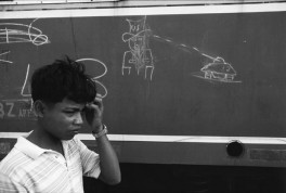 CAMBODIA. Battambang. 1992. Drawing on the side of a train.