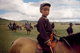 Rounding up wild horses on the edge of the Gobi desert. Children are expert riders from an early age.