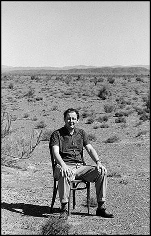 Mongolia, Philip Jones Griffiths in the Gobi desert.