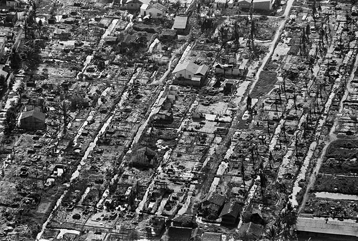 VIETNAM. South Vietnam. The levelled village of Ben Tre in the delta after the Tet offensive. 1968