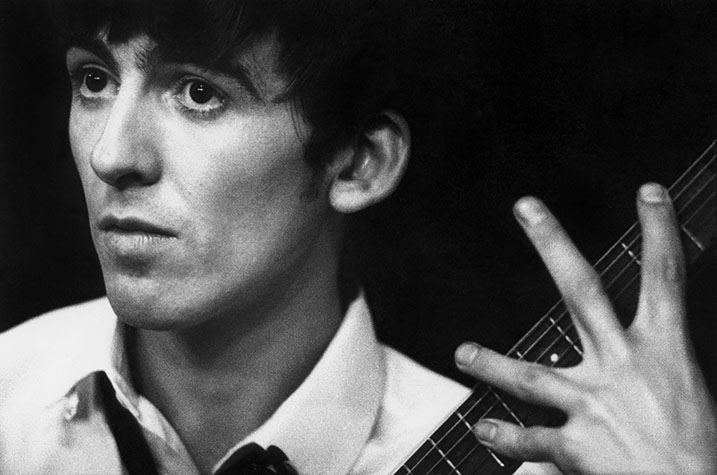 1963. Paris, France.Portrait of George Harrison of the Beatles when they were still performing in small theaters and cellars.